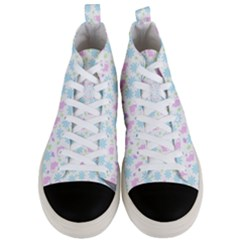 Cats And Flowers Men s Mid Top Canvas Sneakers