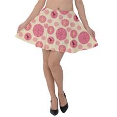 Cream Retro Dots Velvet Skater Skirt