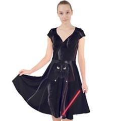 Darth Vader Cat Cap Sleeve Front Wrap Midi Dress