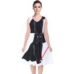 Darth Vader Cat V Neck Midi Sleeveless Dress
