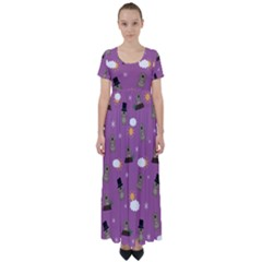 Groundhog Day Pattern High Waist Short Sleeve Maxi Dress