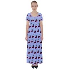 Blue Cherries High Waist Short Sleeve Maxi Dress