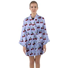 Blue Cherries Long Sleeve Kimono Robe
