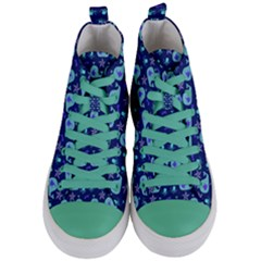 Blue Sea Whales Women s Mid Top Canvas Sneakers