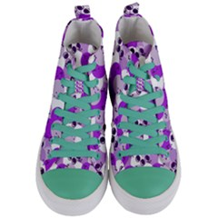 Purple Cherry Dots Women s Mid Top Canvas Sneakers