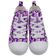 Purple Cherry Dots Kid s Mid Top Canvas Sneakers