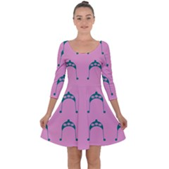 Pink Flower Teal Hat Quarter Sleeve Skater Dress