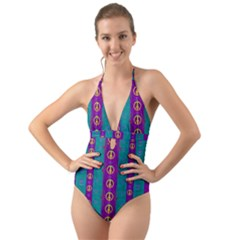 Peace Be With Us This Wonderful Year In True Love Halter Cut Out One Piece Swimsuit