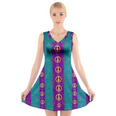 Peace Be With Us This Wonderful Year In True Love V Neck Sleeveless Skater Dress