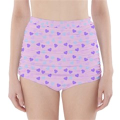 Blue Pink Hearts High Waisted Bikini Bottoms