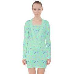 Minty Hearts V Neck Bodycon Long Sleeve Dress