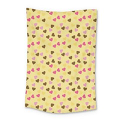 Beige Hearts Small Tapestry