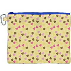 Beige Hearts Canvas Cosmetic Bag (xxxl)