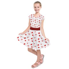Red & White Hearts In Balloons Kids  Short Sleeve Dress