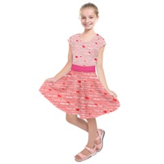 Pink & Peach I Love You Pattern Kids  Short Sleeve Dress