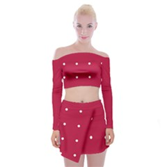 Red Dot Off Shoulder Top With Mini Skirt Set