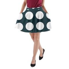 Big Dot Teal Blue A Line Pocket Skirt