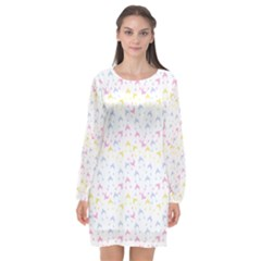 Pastel Hats Long Sleeve Chiffon Shift Dress