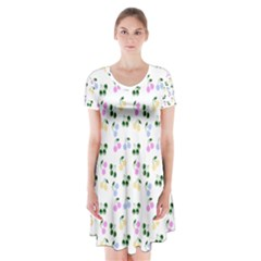 Green Cherries Short Sleeve V Neck Flare Dress