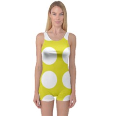 Big Dot Yellow One Piece Boyleg Swimsuit