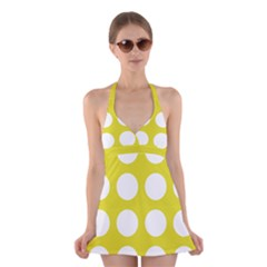 Big Dot Yellow Halter Dress Swimsuit