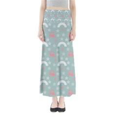 Music Stars Sky Blue Full Length Maxi Skirt