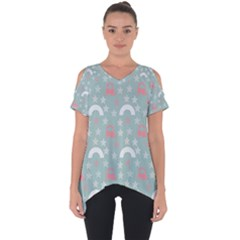 Music Stars Sky Blue Cut Out Side Drop Tee