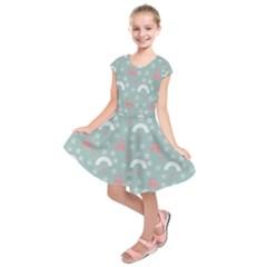 Music Stars Sky Blue Kids  Short Sleeve Dress
