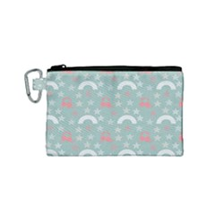 Music Stars Sky Blue Canvas Cosmetic Bag (small)