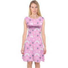 Music Star Pink Capsleeve Midi Dress