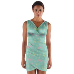 Music Stars Seafoam Wrap Front Bodycon Dress