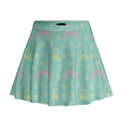 Music Stars Seafoam Mini Flare Skirt