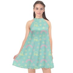 Music Stars Seafoam Halter Neckline Chiffon Dress