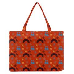 Music Stars Red Zipper Medium Tote Bag