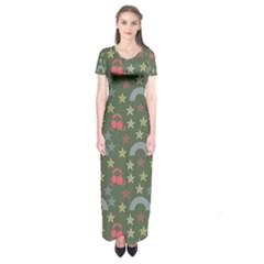 Music Stars Grass Green Short Sleeve Maxi Dress