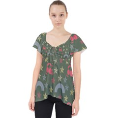 Music Stars Grass Green Lace Front Dolly Top