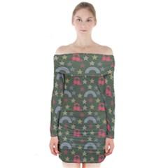 Music Stars Grass Green Long Sleeve Off Shoulder Dress