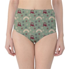 Music Stars Green High Waist Bikini Bottoms