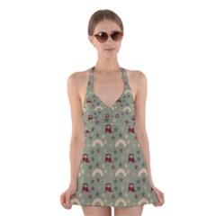 Music Stars Green Halter Dress Swimsuit