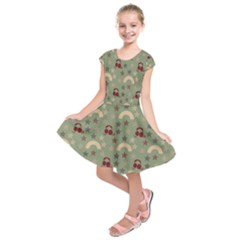 Music Stars Green Kids  Short Sleeve Dress