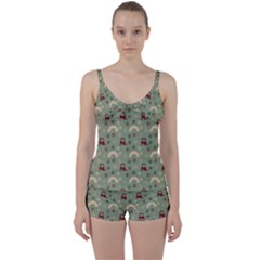Music Stars Green Tie Front Two Piece Tankini