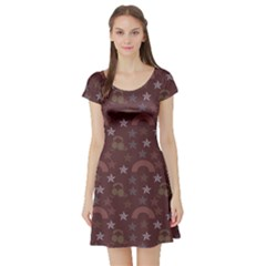 Music Stars Brown Short Sleeve Skater Dress
