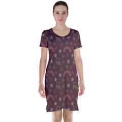 Music Stars Brown Short Sleeve Nightdress