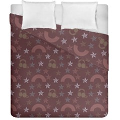 Music Stars Brown Duvet Cover Double Side (california King Size)