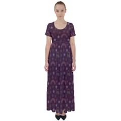 Music Stars Brown High Waist Short Sleeve Maxi Dress