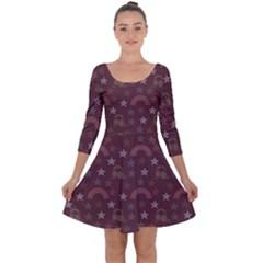 Music Stars Brown Quarter Sleeve Skater Dress