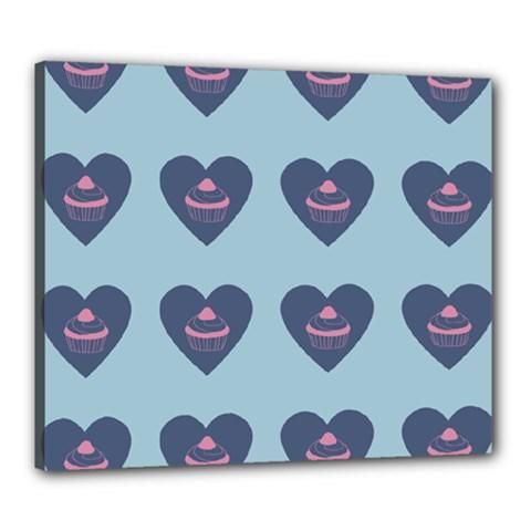 Cupcake Heart Teal Blue Canvas 24  X 20