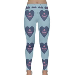 Cupcake Heart Teal Blue Classic Yoga Leggings