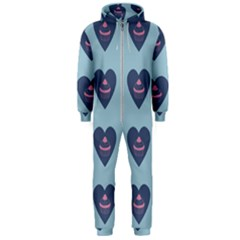 Cupcake Heart Teal Blue Hooded Jumpsuit (men)