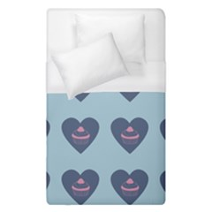 Cupcake Heart Teal Blue Duvet Cover (single Size)